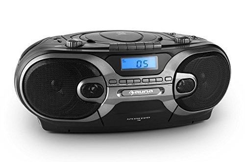 auna rcd 230 poste radio cassette mobile lecteur cd portable bass boost ports usb et sd pour. Black Bedroom Furniture Sets. Home Design Ideas